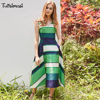 Summer New Runway Maxi Dress Women S Sleeveless Tank Cute Charming Striped Print V Neck Party