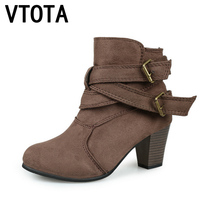 VTOTA Ankle Boots For Women 2017 Autumn Boots Heel Shoes Woman Plataforma Bota Feminina Women Winter