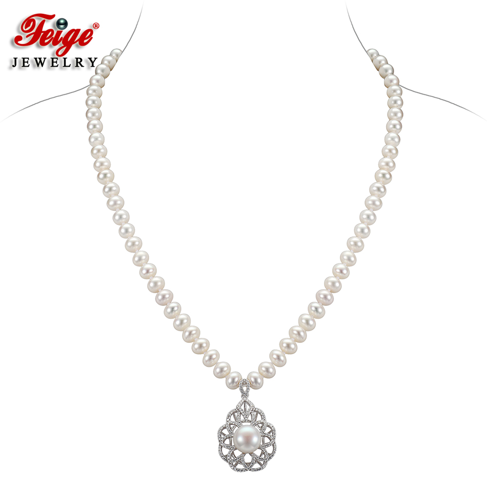 FEIGE Shiny Luxury Pearl Choker Necklace Real 925 Sterling Silver Inlay Cubic Zirconia Pendants for Women Handmade Pearl JewelryFEIGE Shiny Luxury Pearl Choker Necklace Real 925 Sterling Silver Inlay Cubic Zirconia Pendants for Women Handmade Pearl Jewelry