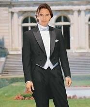 Black Tailcoat Groom Tuxedos Men Wedding Suits (Jacket+Pants+Vest+Tie) Customize popular tailcoat groom tuxedos jacket pants vest custom made men wedding suits