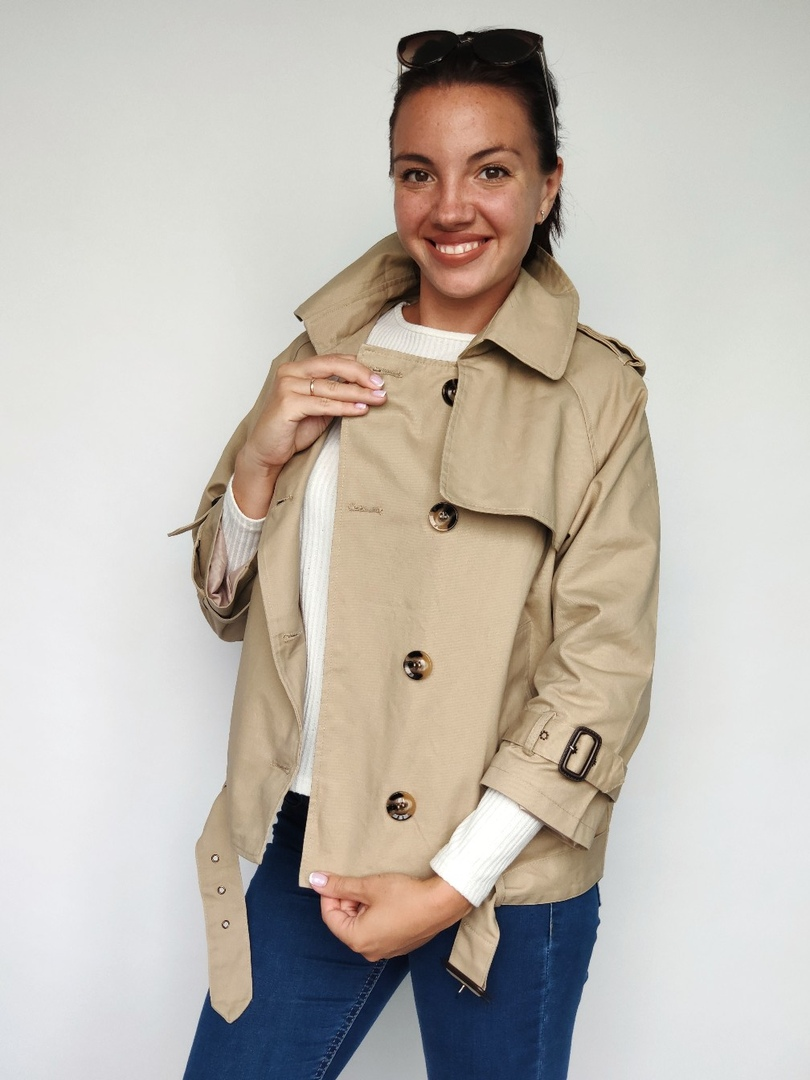 Korean Version Spring And Autumn Pure Colorn Waist Double Breasted Coat Woman Lady Windbreaker