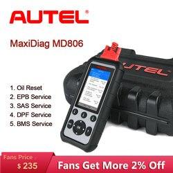 Nowy Autel MaxiDiag MD806 narzędzie diagnostyczne do samochodów skaner samochodowy OBD2 Auto urządzenia do skanowania czytnik kodów silnik Test diagnostyczny do samochodu