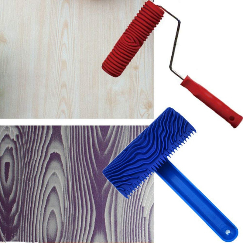 Купить с кэшбэком Pattern Paint Roller mitation Wood Tool Set Eg300T 7 Inch Rubber Roller + Ms16 Imitation Realistic Wood Grain Coating Embo Tools