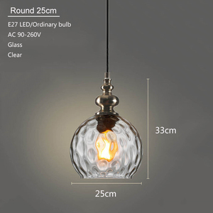 Image 5 - Nordic loft art deco glass pendant light LED E27 vintage modern hanging lamp for bedroom restaurant living room kitchen hotel