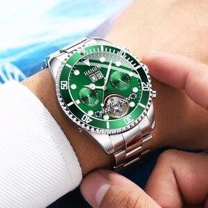 Image 2 - HAIQIN الساخن العلامة التجارية الرجال ساعة الأعمال الميكانيكية ساعة الصلب مقاوم للماء الذكور ساعة معصم توربيون Reloj mecanico دي لوس hombres