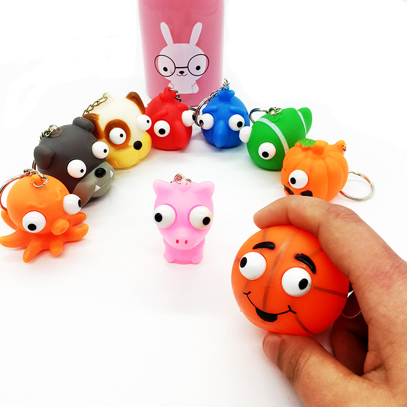 3Pcs Funny Cartoon Animal Vent Squeezing Eyes Gags Practical Jokes Toy Anti Stress Ball Fun Antistress Toys