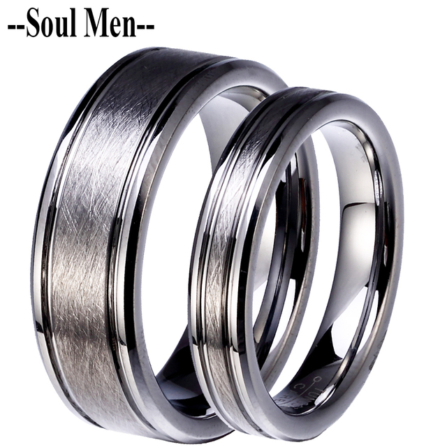 Pure Tungsten Carbide Lovers Rings Couples Wedding Band Sets Classic Handmade Silver Scratch Proof Jewelry 8mm Male 4mm Female