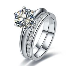 2 карат SONA искусственный камень свадебные кольца наборы для женщин, серебряные кольца наборы, обещают кольцо набор