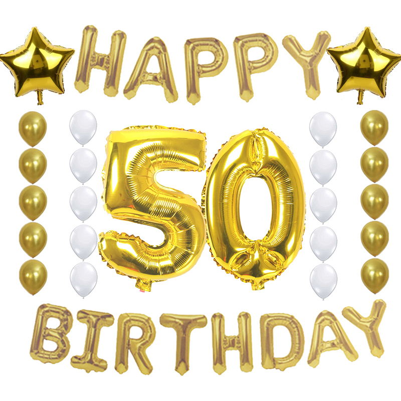 Amawill 50th Birthday Party Decoration 50 Years Old Celebration Supplies Happy Foil Balloon Gold White Latex Ballon 75D