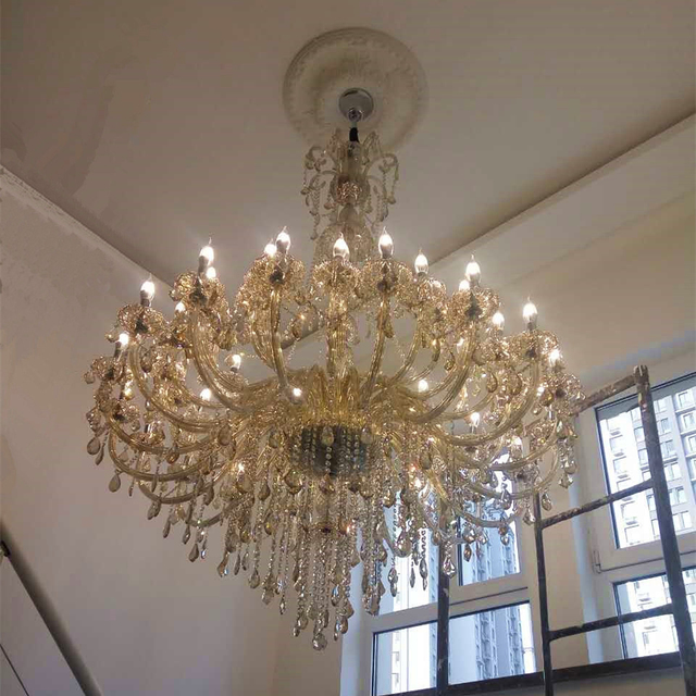 Home Lighting Large Crystal Chandelier Champagne Glass