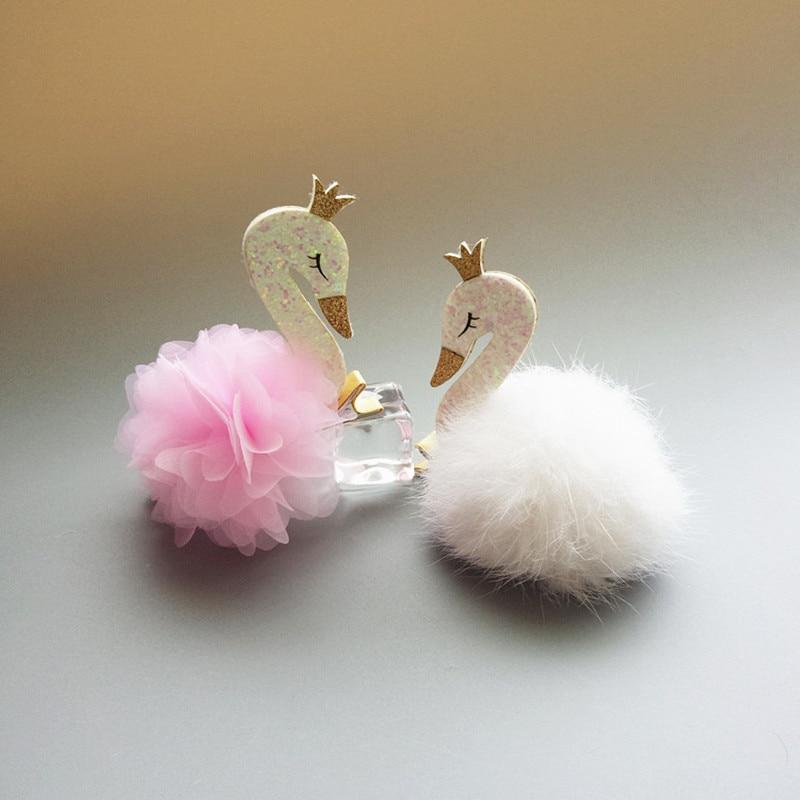 20PC/LOT Pink Cartoon Animals Swan Girls Hair Clip Hair Headwear Barrette Hotsale European Style Hair Gift Kids Lovely Clip braid clip sponge hair braider twisting maker pink