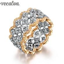 Vecalon Mujeres anillo de La Joyería Completa diamante Simulado Cz Oro Rosa 925 Engagement wedding Band anillo de Plata Esterlina para las mujeres