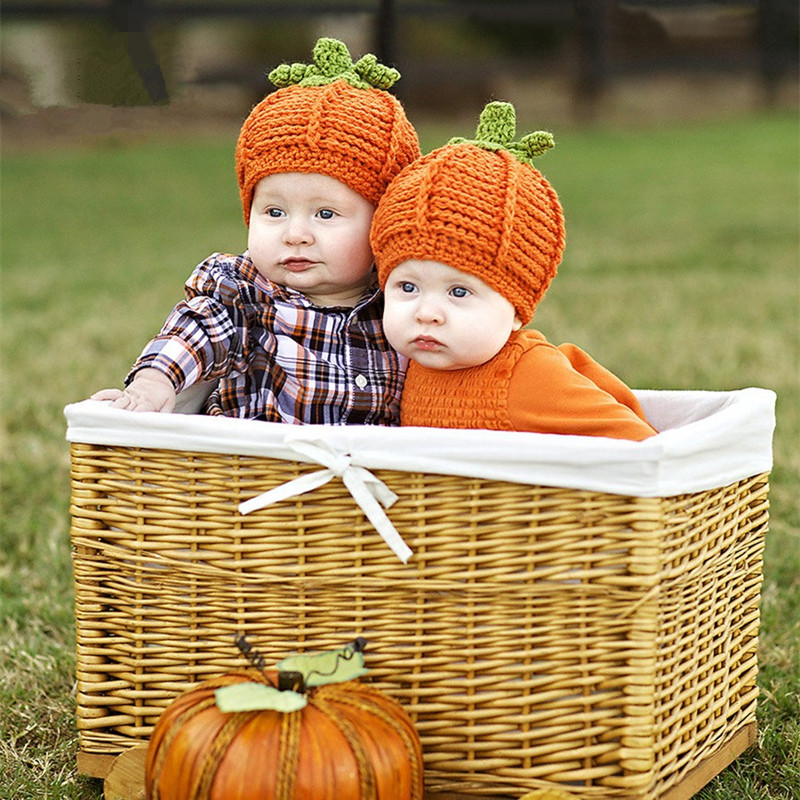 Newborn Photography Props Pumpkin Costume Baby Knit Hat+Pumpkin Set Baby Photo Props Accessory Baby Born Accessories Fotografia