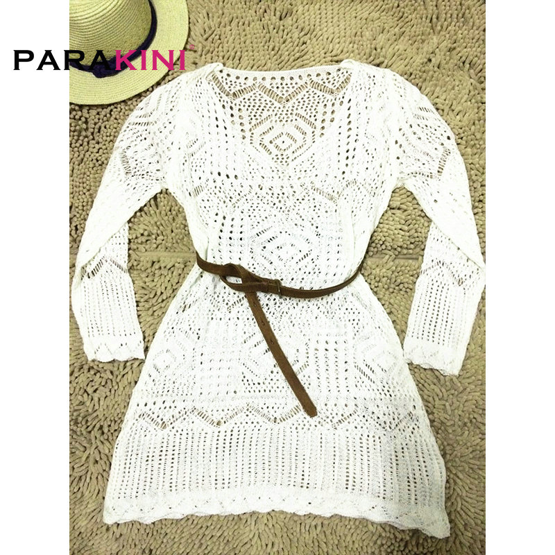 PARAKINI 2018 Pareo Beach Crochet Swim Tunic Cover-Ups Women Embroidery Sexy Bikini Bathing Suit Cardigan Cover Ups with Belt 4