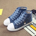 2016 New Winter Plus Velvet Blazer High Casual Shoes Flat Canvas Shoes women Students Warm Shoes Canvas shoes