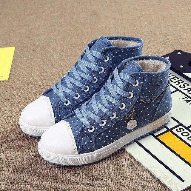 2016 New Winter Plus Velvet Blazer High Casual Shoes Flat Canvas Shoes women Students Warm Shoes Canvas shoes
