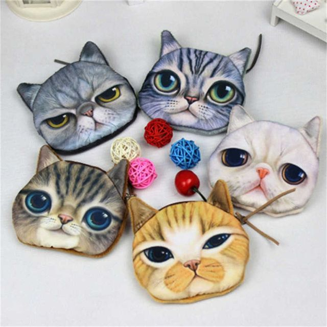 Coin Purses Wallet Ladies 3D Cat Dog Face Animal Change Money Bag Fashion Cute Small Zipper bag for Women Change Purse Pouch Coin Purses & Holders