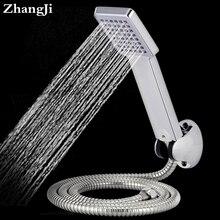ZhangJi площадь ванной душ набор головок Из Нержавеющей стали шланг + Душ + душ держатель регулируемый Душ наборы Головок ZJ077