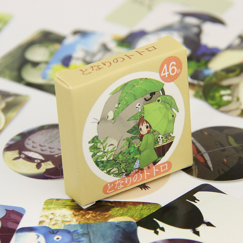 46PCS/set Cute My Neighbor Totoro Cartoon Stickers Adhesive Sticker DIY Decoration Stickers
