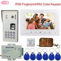 Проводной видеодомофон дверной звонок для квартиры IP65 водостойкий отпечаток пальца Rfid Клавиатура домофон для дома + беспроводной пульт дис
