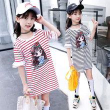 Kids Girls Dress Cotton Striped Short sleeve Girls Clothing summer Casual Children Girls Dress 4 5 6 7 8 9 10 11 12 13 14 Years цена