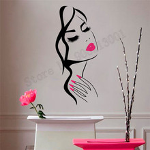 Beauty Salon Nails With Lips Wall Decoration Vinyl Art Removeable Poster Mural Beautiful Girls Modern Ornament LY780