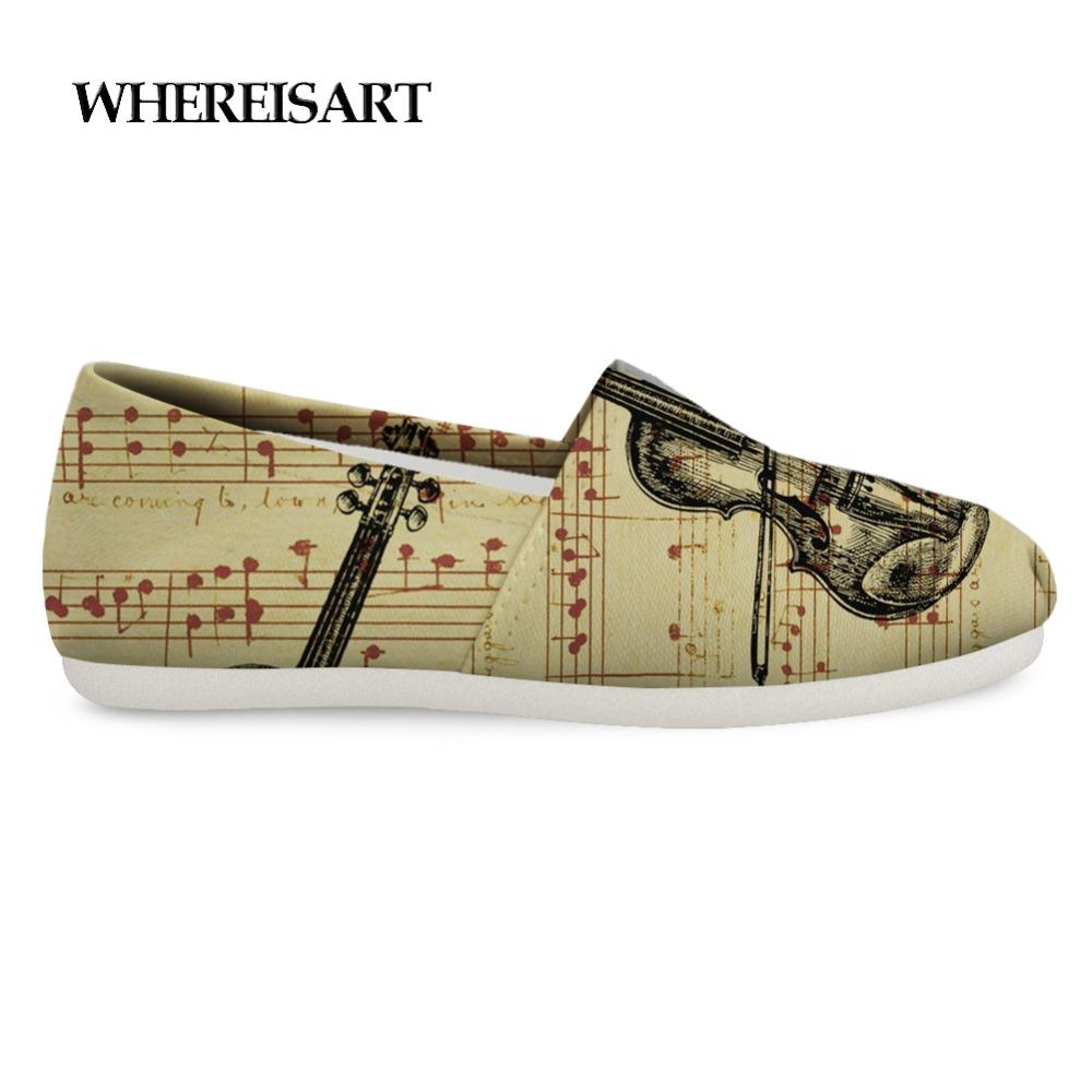 Men's Shoes Cooperative Whereisart Violin Sketch Shoes Men Custom Canvas Loafers For Men Casual Shoes Man Trendy Flats Sneakers Chaussure Homme New Commodities Are Available Without Restriction