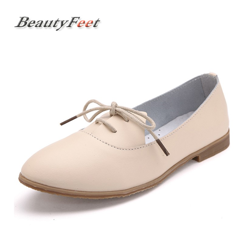 BeautyFeet Spring Women Oxford Shoes Ballerina Flats Shoes Women Genuine Leather Shoes Moccasins Lace Up Loafers White Shoes beautyfeet women shoes female genuine leather lace up casual shoes woman flats white shoes candy color breathable ladies shoes