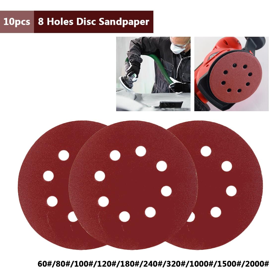 10pcs 125mm/5'' Sanding Polishing Sheet Sandpaper Round Shape Sander Discs  60-2000 Grit Polish Pad