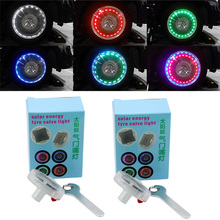 2pcs Decor Lamp Valves Auto Accessory Car Motocycle Wheel Light Air Caps Car-styling Tire Valve Solar Energy LED