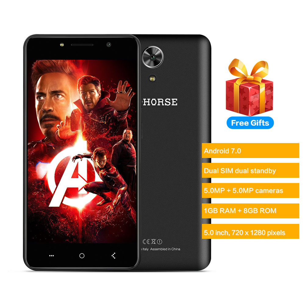 M-HORSE Puissance 1 3G Téléphone Intelligent 5.0 pouce Android 7.0 MTK6580A Quad Core 1 GB RAM 8 GB ROM