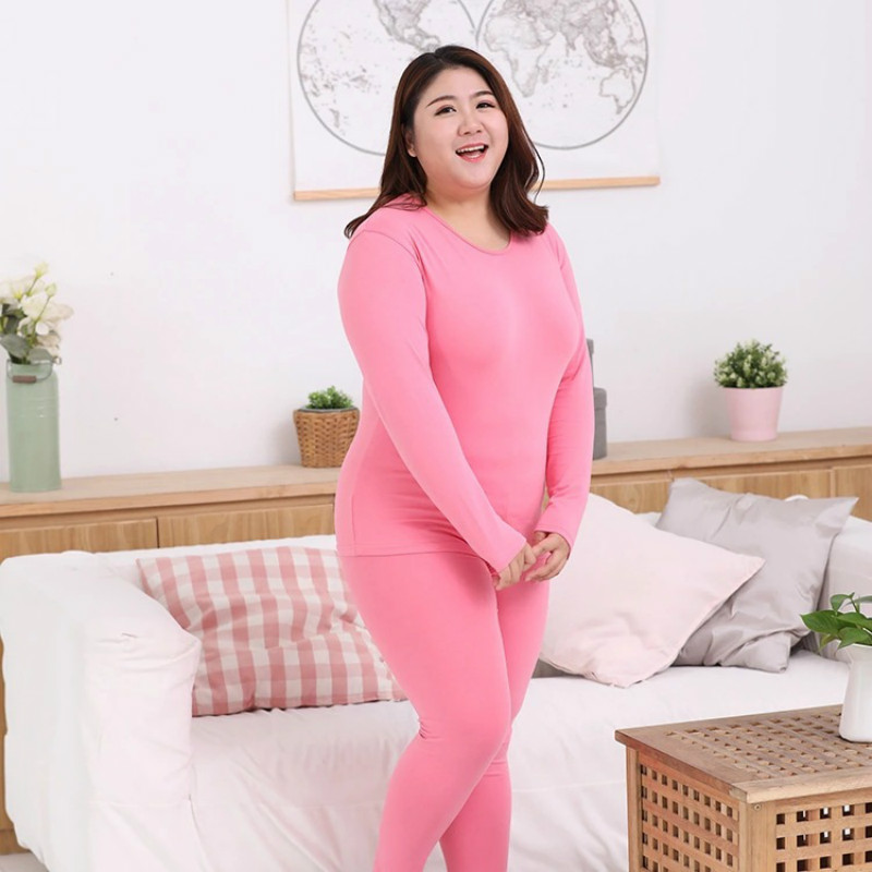 Women Thermal Clothing Thick Warm Underwear Suit Pure Cotton O Neck Seamless Plus Size 6XL Long Johns Underwear For Winter