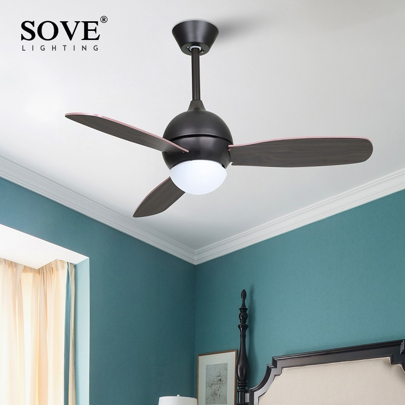 SOVE Modern White Black Kids Ceiling Fans With Lights