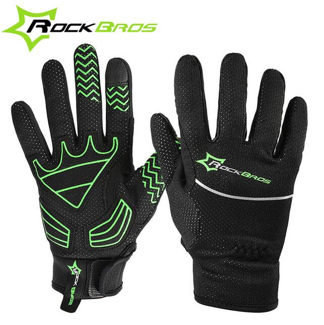 ROCKBROS Men Bicycle Gloves Fleece Full Finger Glove Warm Touch Screen Anti Slip Motorcycle Gloves Winter