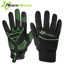 ROCKBROS Men Bicycle Gloves Fleece Full Finger Glove Warm Touch Screen Anti Slip Motorcycle Gloves Winter Sport Cycling Gloves
