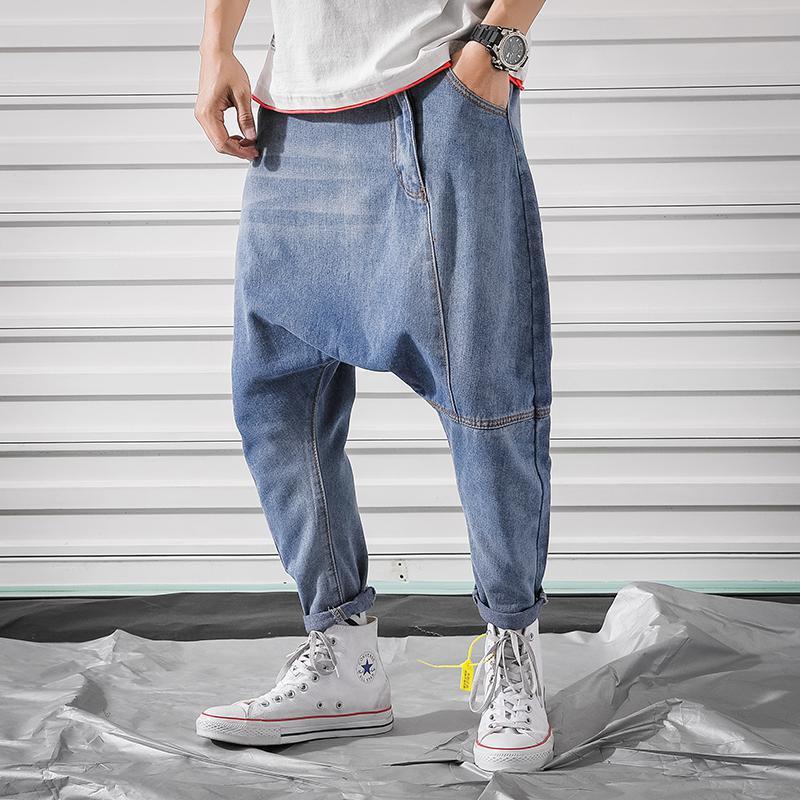 Men Jean Baggy Denim Harem Pants Classic Style Low Crotch Jeans Hip Hop Street Dance Trousers Plus Size Joggers Plus Size 5XL