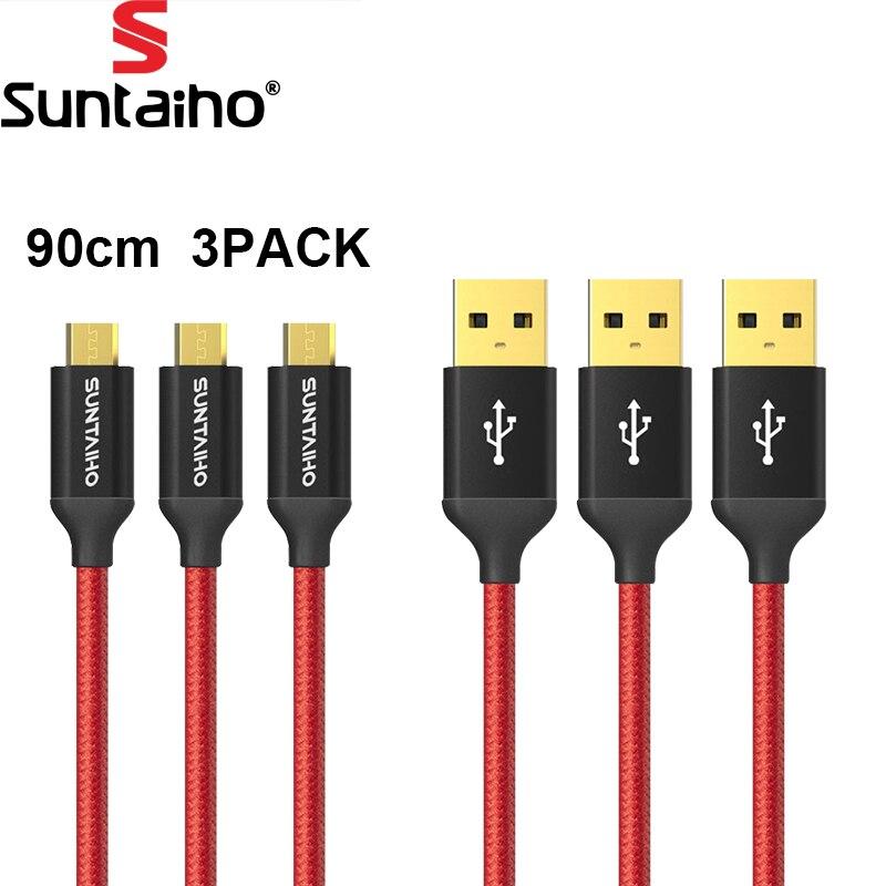 Galleria fotografica [3 PACCO] Micro Cavo USB 5V2. 5A Cavo di Ricarica Veloce Suntaiho Nylon treccia Cavo USB Cavo Dati per Samsung Xiaomi <font><b>LG</b></font> telefono