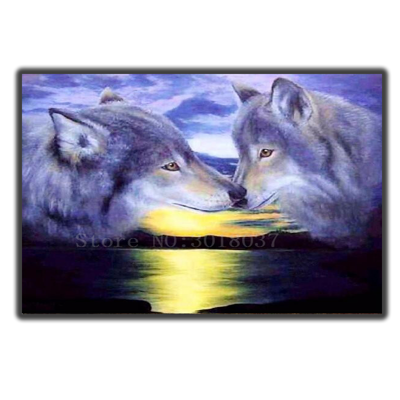 5D Diamond Mosaic Diy Diamond Embroidery Two Coyotes In Love Diamond Painting Cross Stitch Floral Rhinestone Decoration Stickers