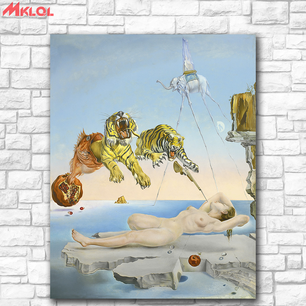 Salvador Dali dream-caused Canvas Painting For Living Room Home Decoration Oil Painting On Canvas Wall Painting No Frame