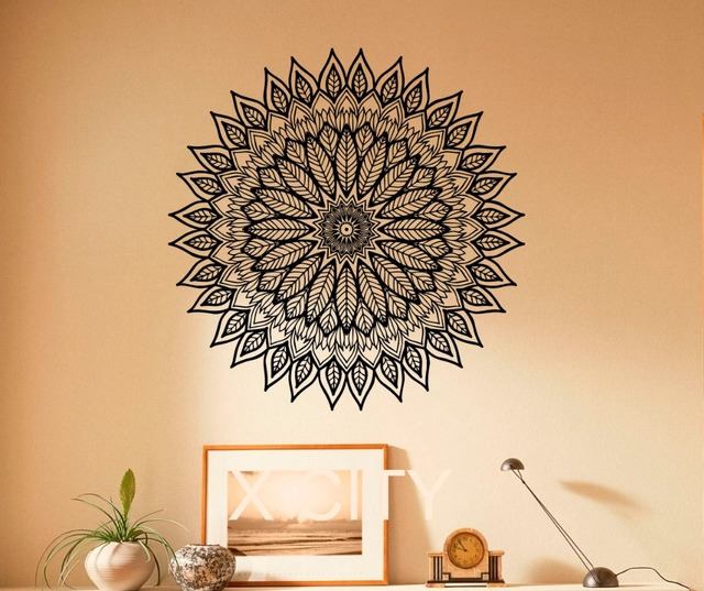 Yoga Wall Art aliexpress : buy mandala stickers indian round pattern leaf