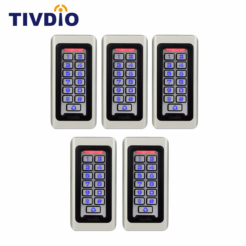 5pcs TIVDIO Keypad RFID Access Control System Proximity Card Standalone 2000 Users Door Access Control Waterproof F9501D rfid ip65 waterproof access control touch metal keypad standalone 125khz card reader for door access control system 8000 users