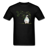 Latest Wood Pigeon Men T Shirt Hand Painting Bird Tee Shirts Casual Style Thanksgiving Day Short