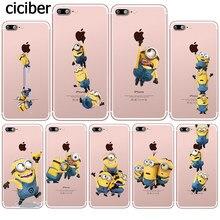 b2bc887119 Funny Cartoon Yellow Minions Cute Minion Silicone Transparent Clear Soft  TPU Cover Coque Fundas for iphone 7 8 6 6S Plus X SE 5S