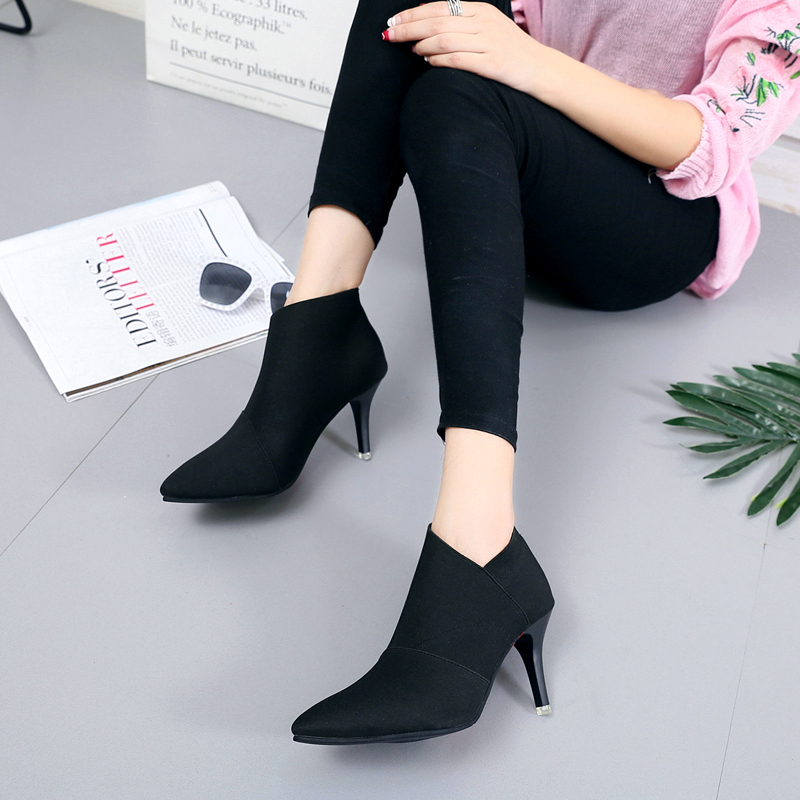 New 2019 Autumn Winter Fashion Woman Boots High Heels Women Leather
