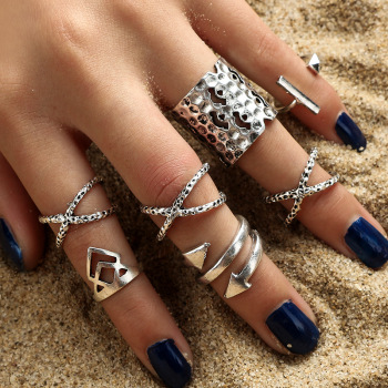 Vintage Antique Silver Bohemian Womens Ring Set