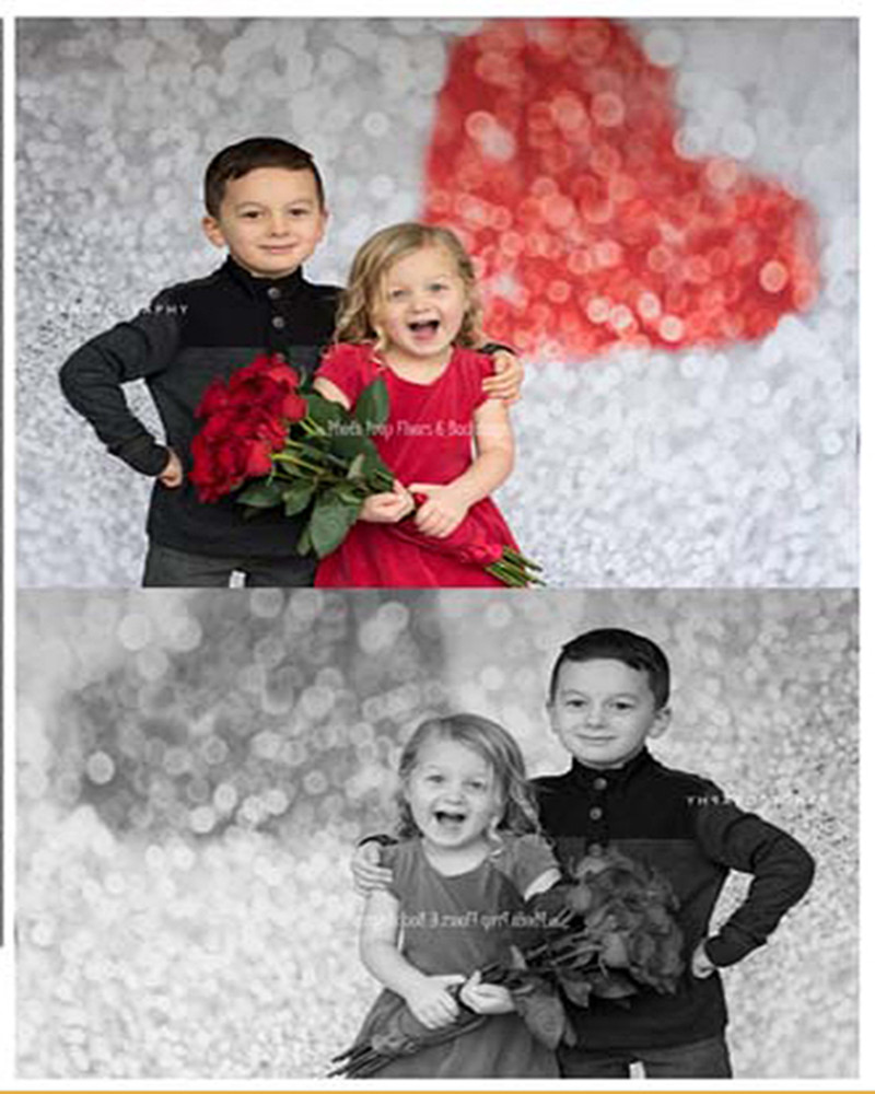 Nejnovější Spark Silver Novorozené dítě kulisy Fotografie Red Sweetheart Foto pozadí Cloth Photo Studio Newbron Foto