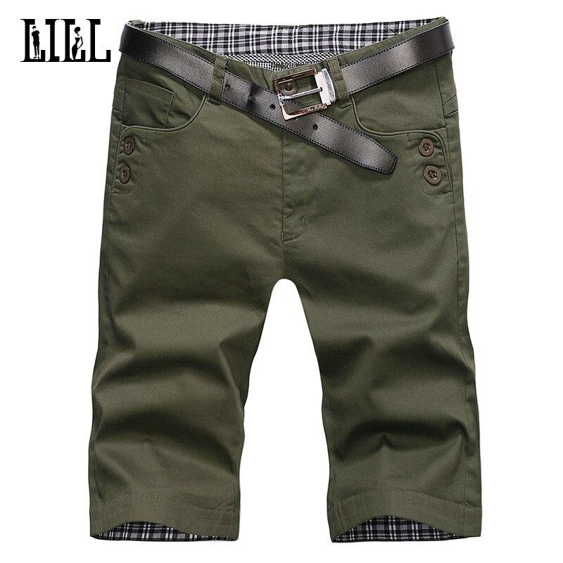 LILL| 2018 New Men Cotton Casual Shorts Men Summer Breathable Cargo Short With Button Half Short Trousers Bermuda No Belt UMA385