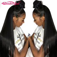 Remy Hair Wonder girl 360 Lace Frontal Wig Pre Plucked With Baby Hair Peruvian Straight Pre Plucked Lace Front Human Hair Wigs