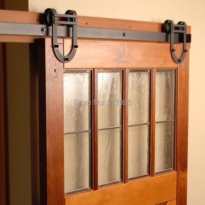 Free Shipping New Horseshoe Design 6ft Wooden Barn Door Kits Sliding Door Track In Doors From