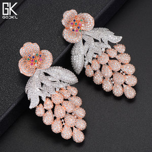 Image 2 - GODKI 75mm Pink Trendy Luxury Grape Nigerian Tassels Long Dangle Earring For Women Wedding Zircon CZ Indian Dubai Bridal Earring
